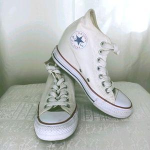 White Converse Chuck Taylor Heel High Tops